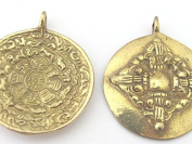 1 pendant - 42 mm Tibetan Om with calendar timeline wheel Solid Brass pendant and reverse side double dorje - CP085