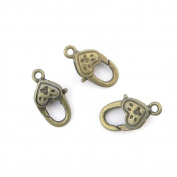 Qty 5 Pieces Jewellery Making Charms Findings Supplies Repair Craft Antique Bronze CT1134 Heart-shaped Lobster Clasps