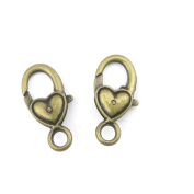Qty 10 Pieces Jewellery Making Charms Findings Supplies Repair Craft Antique Bronze CT1125 Love Heart Lobster Clasps