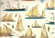 Sailboats and Sailor Knots Decorative Rolled Gift Wrap Paper 2 Full Sheets