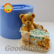 Teddy in the Bath 3d Mould Soap Mould Silicone Moulds Mould for Soap Mould Teddy Mould Silicone Mould Animals Mould Teddy