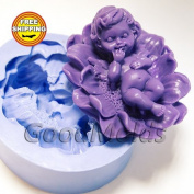 Baby on a Flower Mould Soap Mould Silicone Moulds Mould for Soap Mould Angel Mould Silicone Mould Flower Mould