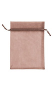 Count of 10 New Retail Chocolate Organza Bags 13cm W x 18cm H