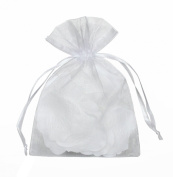 Yunko 50pcs Sheer Organza Drawstring Pouches Gift Bags White Colour 15cm x 23cm
