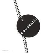Andaz Press Circle Gift Tags, Modern Style, Congrats!, Black, 24-Pack
