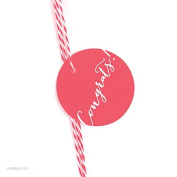 Andaz Press Circle Gift Tags, Whimsical Style, Congrats!, Coral, 24-Pack