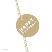 Andaz Press Circle Gift Tags, Modern Style, Happy Birthday!, Tan Brown, 24-Pack