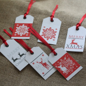 Luck and Luck Christmas Gift Tags Red And White Reindeers Snowflakes X 6 Xmas Present Labels