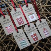 Luck and Luck Christmas Kraft Gift Tags 'Merry Christmas' Reindeers Snowflakes X 6 Fun Xmas