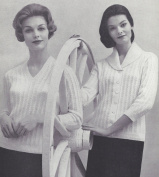 Vintage Knitting PATTERN to make - V Pullover Shawl Collar Cardigan Sweater VShawlSet. NOT a finished item. This is a pattern and/or instructions to make the item only.