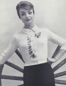 Vintage Knitting PATTERN to make - Shorty Cardigan Sweater EmbroideredCardigan. NOT a finished item. This is a pattern and/or instructions to make the item only.