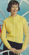 Vintage Knitting PATTERN to make - Knit Lace Lacy Cardigan Sweater YellowLaceCardigan. NOT a finished item. This is a pattern and/or instructions to make the item only.
