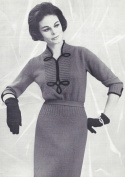 Vintage Knitting PATTERN to make - Frog Trim Ribbed Neck Knit Dress FrogDress. NOT a finished item. This is a pattern and/or instructions to make the item only.