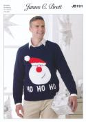 James Brett Double Knitting DK Pattern Mens Christmas Santa Jumper Sweater Top Value DK
