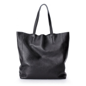La Poet Genuine Leather 2 in 1 Bucket Shopping Tote Handbag with Removable Pouch