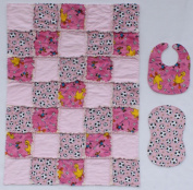 Sesame Street Big Bird Soccer Print with Coordinating Pink Accent Fabrics Baby Rag Quilt with Matching Burp Cloth and Bib