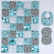 Loveable Puppies with Coordinating Prints of Paws and Spots in Blue, Black and White Baby Rag Quilt with Matching Burp Cloth and Bib
