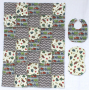 Adorable Dump Trucks with Grey Accent Fabrics Baby Rag Quilt with Matching Burp Cloth and Bib