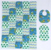 Cute Frogs with Green and Blue Coordinating Print Fabrics Baby Rag Quilt with Matching Burp Cloth and Bib