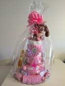 3 Tier Infant Girls Pink Bows Nappy Cake for Baby Showers & After Delivery Gift