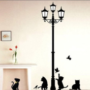 Playful Cats and Romantic Lamppost Silhouette Wall Sticker Decal
