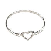 Genuine Sterling Silver Heart Baby Bangle Bracelet for