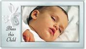 BLESS THIS CHILD - BABY Photo Frame - SATIN Silver STEEL 20cm X 10cm KEEPSAKE for NEW PARENTS Infant - CHRISTENING Shower GIFT Newborn