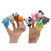 10pcs/lot Cartoon Velvet Finger Animal Puppet Play Game Learn Story Baby Toys Dolls New