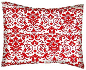 SheetWorld Crib / Toddler Percale Baby Pillow Case - Red Damask - Made In USA