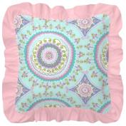 Carousel Designs Aqua Haute Baby Square Decorative Pillow with Ruffle
