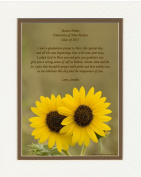 """Personalised Graduation Gift with """"Graduation Prayer Poem"""" Sunflowers Photo, 8x10 Double Matted. A Special Keepsake Gift for Graduate 2015"""
