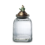 Pfaltzgraff Naturewood Small Glass Canister with Resin Lid - Green|Brown|Red