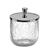 Crackle Collection Cotton Ball Swab Pad/ Container Cup Holder, Crackle Glass Cup, Dispenser Holder, Canister Set, Made in Spain (European Brand)