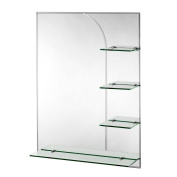 Croydex - Bampton 80cm . x 60cm . Bevelled Edge Wall Mirror with Shelves and Hang 'N' Lock -