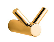 Sweet Collection Double Robe Hook Wall-mounted Towel Hanger Polished with 24k Gold Made in Spain