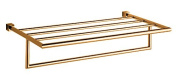 Sweet Collection 60cm Wall Mounting Towel Rack with Shelf. Brass Polished 24k Gold Plated Bathroom Towel Bar, Towel Rail Made in Spain