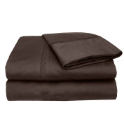 MADE IN THE USA 800TC 100% Cotton Sateen Princeton Sheet Set California King, Espresso By Veratex