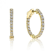 1.00ct Round Diamond 14K Yellow Gold Oval Prong-Set Hoop Earrings Patented Lock