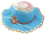 Enimay Kid's Girl's Coloured Tea Party Straw Hat with Flower and Rhinestones