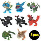 2015 How to Train Your Dragon 2 PVC Action Figures Toy Doll Nightfury Toothless Dragon 8pcs/lot for Kids Gift