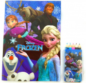 Frozen Themed Anna Elsa and Rapunzel Cover 18.2cm x 13cm 8pp Colouring Paper with 5 colour pencils Set