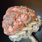 [I AM YOUR PINK LADY]. Designer's Bling Crystal Rhinestone Bridal Wedding Bouquet - White Satin Roses, Comes with Peacock/ Flower Brooches and Pearls