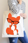 Fox with Glasses Tote Bag in Natural Colour