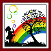 Benway Counted Cross Stitch Little Girl Playing With Colourful Bubbles In The Heart Trees 14 Count 42cm X 41cm