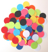 100 pc Mixed Colour Assortment of 2.5cm Sticky Back Felt Circles