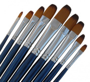 ARTIST PAINT BRUSHES - Fr - Professional Quality Black Tip, Golden Nylon, Long Handle, Filbert Paint Brush Set - Ideal for Acrylic Painting and Oil Painting, and Equally Useful for Watercolour Painting and Gouache Colour Painting. - The Natural Charact ..