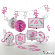 10 pc Baby Girl Pink Shower Party Decorations Decorating Kit