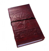 """Celtic """"Tree of Life"""" Leather Journal with Parchment Paper and Leather Strap (23cm x 14cm ) By Viatori"""