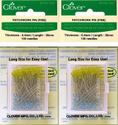 "Two (2) Boxes Quantity 100 Clover Extra Fine Patchwork Pins ~ Article No. 2507 ~ 1.5"" Long .4mm Glass Head"