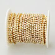 10 Yards Crystal Rhinestone Close Chain Clear Trim SS 2.4 mm in Gold Good Crafted DIY Ideas